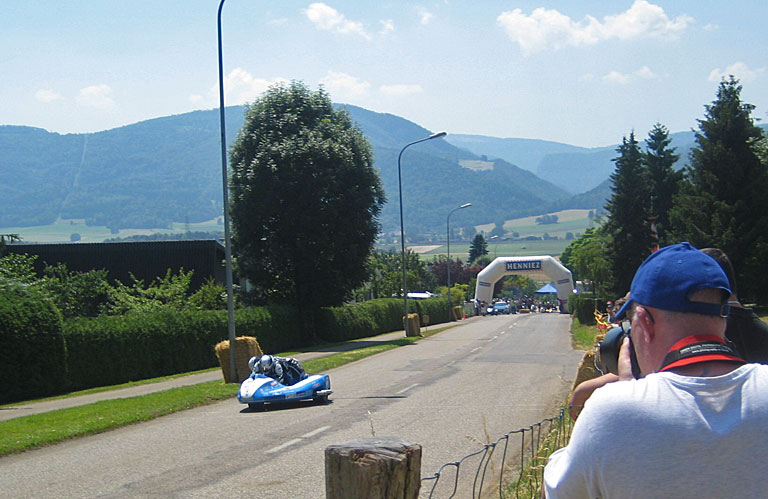 Chris in action during the sidecar race