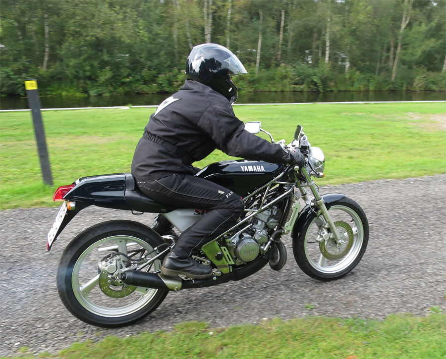 Maria on her rare two-stroke SDR200